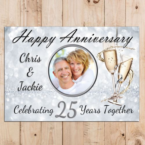 Personalised 25th Silver Wedding Anniversary Party PHOTO Banner Poster N68